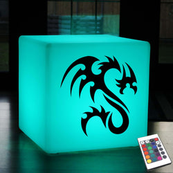 Unique Gift Light, Contemporary Colour Change Rechargeable Stool Seat Side Table for Event, Cube , Tribal Dragon Gift Light