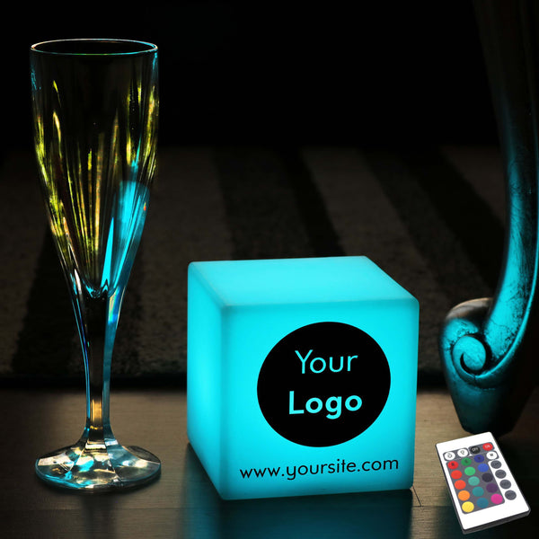 Thoughtful Custom Lightbox, Contemporary Ambient Battery Operated Table Bedside Lamp for Event, Cube