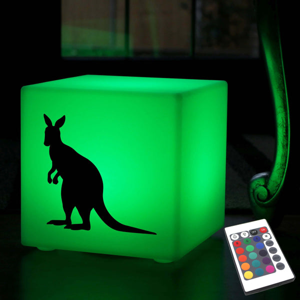 Funky Light Gift for Him, Decorative Dimmable Rechargeable Table Lamp for Party, Cube , Kangaroo Gift Light