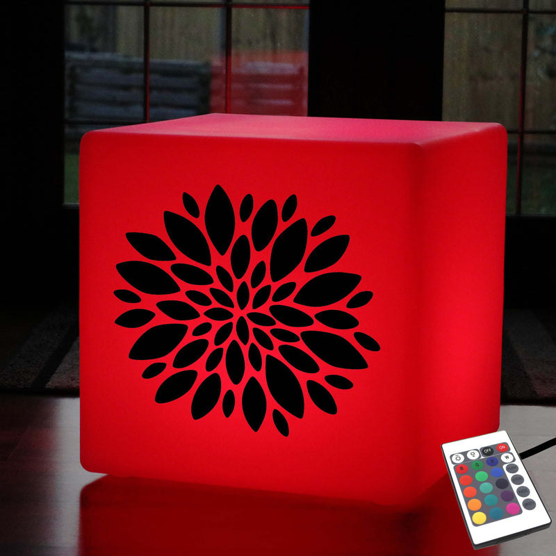 Unique Light Box, Lounge Colour Changing Illuminated Seat for Event, Cube , Mains Powered, Flower Gift Lamp