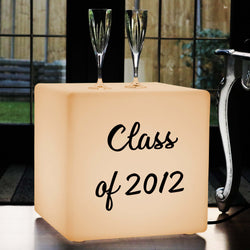 Custom Letters Gift Light Box, Modern Stool Seat Furniture for Night Club, Cube 40 cm, E27, Warm White