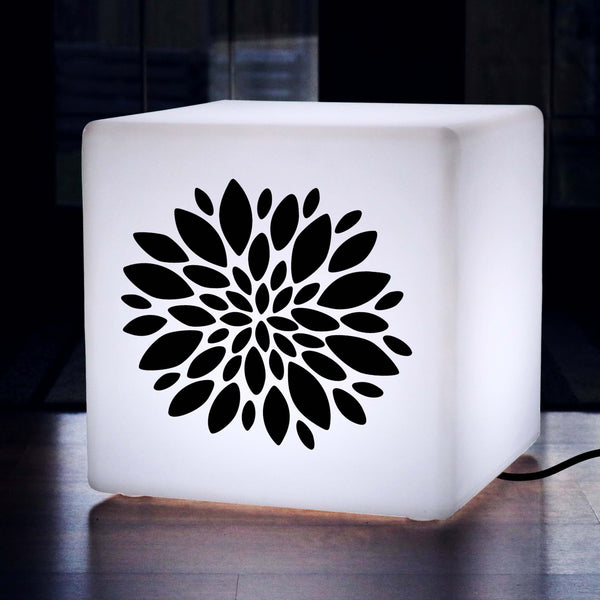 Original Handmade Thoughtful Gift Light, Living Room Light Up Stool for Nightclub, Cube , E27, White, Flower Lamp