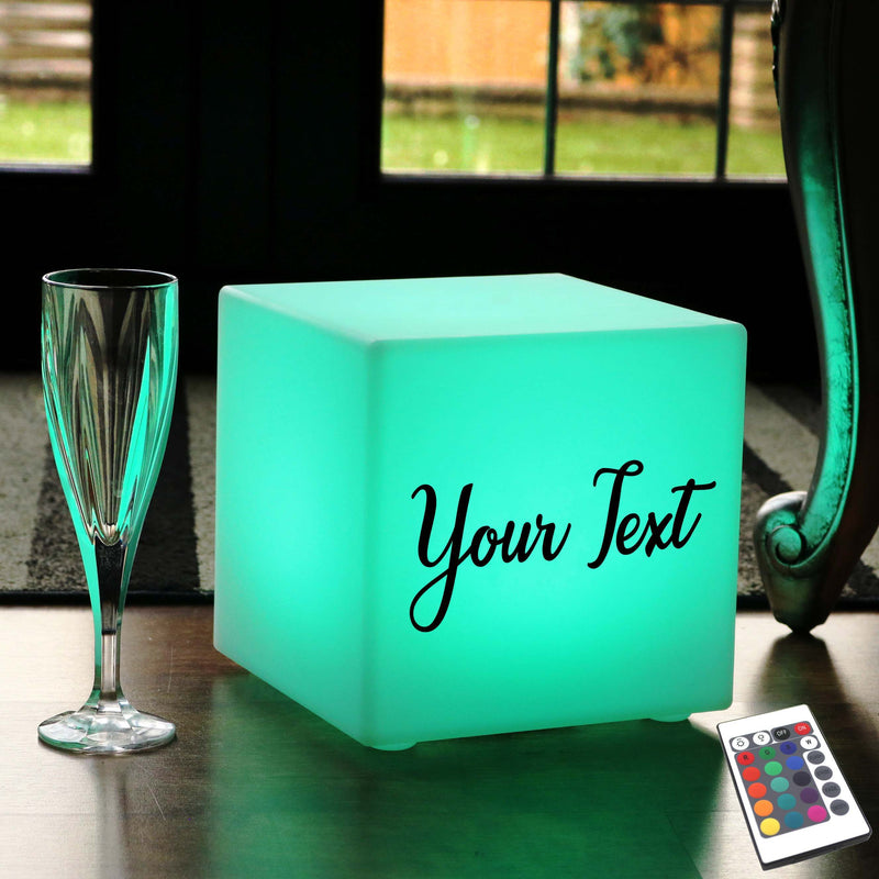 Promotional Customised Light Box, Living Room Dimmable Rechargeable Table Bedside Lamp for Event, Cube 20 x 20 cm