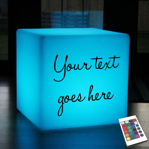 Promotional Customised Light Box, Lounge Multi-Colour Cordless Stool Seat for Decoration, Cube 50 x 50 cm
