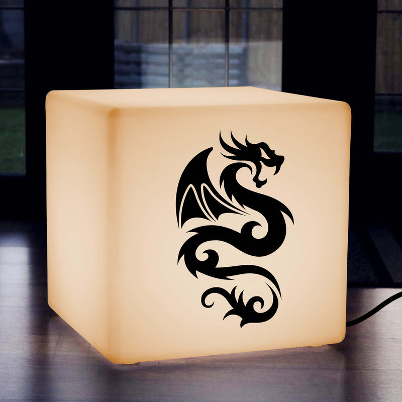 Funky Light Gift for Her, Lounge LED Seat for Wedding, Cube , E27, Warm White, Chinese Dragon Light