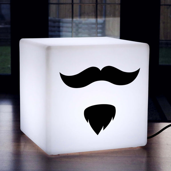 Creative Gift Light for Him, LED Stool Seat Side Table for Hotel, Cube , E27, White, Moustache and Beard Light
