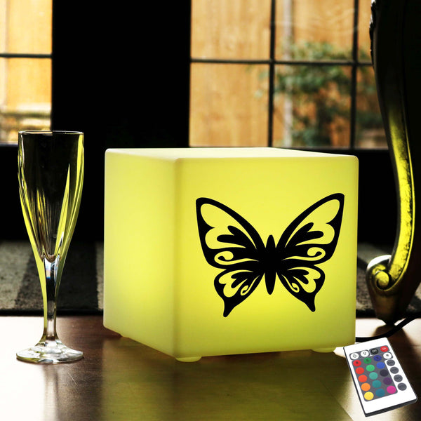 Funky Light Gift for Him, Lounge Colour Change Table Lamp Centrepiece for Hotel, Cube , Mains Powered, Butterfly Lamp