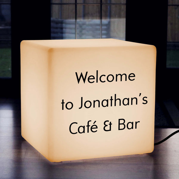 Custom Sign Light Box, Modern LED Stool for Anniversary, Cube 50 x 50 cm, E27, Warm White