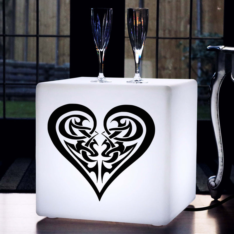 Unique Handcrafted Light Gift for Him, LED Stool Seat Furniture for Hotel, Cube , E27, White, Tribal Heart Lamp
