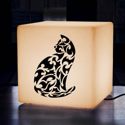 Hand Made Light Gift for Him, Contemporary Stool Seat Side Table for Event, Cube , E27, Warm White, Cat Gift Lamp
