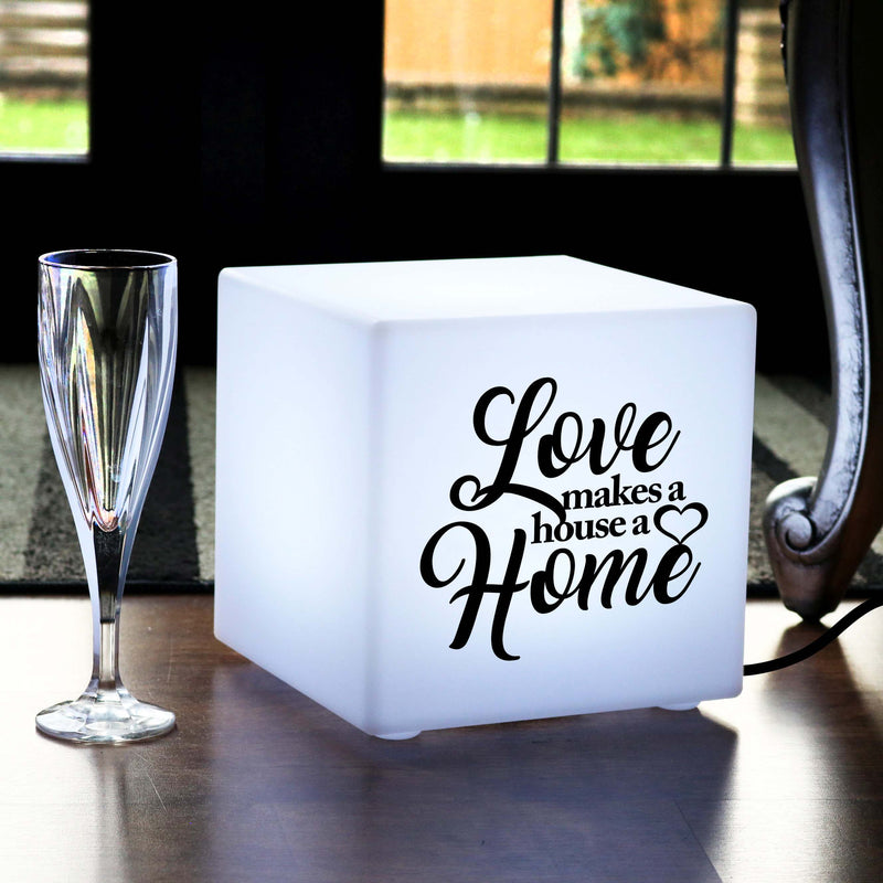 Creative Handmade Gift Light for Her, Decorative Table Bedside Lamp for Hotel, Cube , E27, White, Love Makes a House a Home Light
