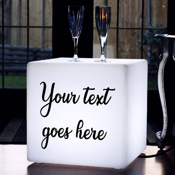 Personalised Sign Gift Light Box, LED Stool Seat Furniture for Anniversary, Cube 40cm, E27, White