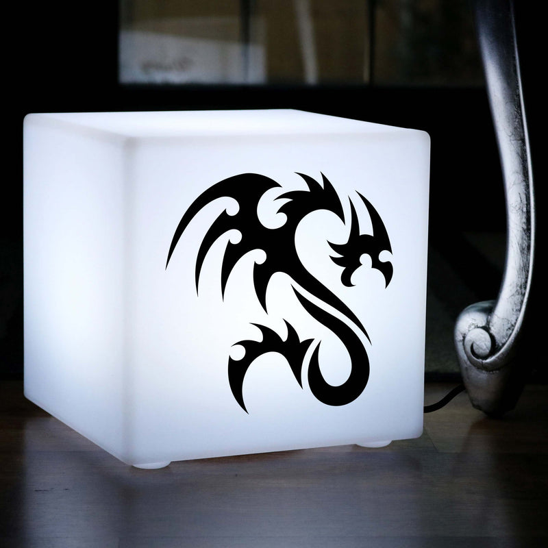 Original Lightbox, Decorative Table Bedside Lamp for Night Club, Cube , E27, White, Tribal Dragon Lamp