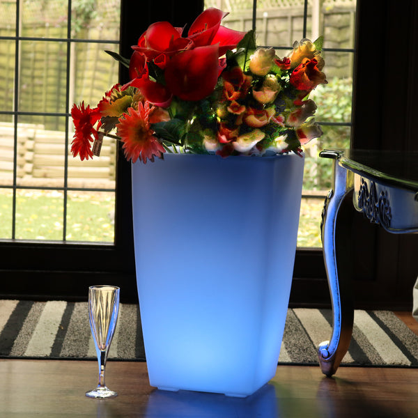 LED Floor Vase, 50cm Illuminated Plant Pot, Multi Colour RGB Floor Standing Lamp with Remote