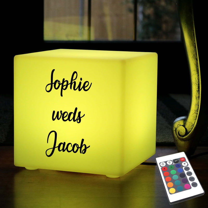 Unique Customised Lightbox, LED Remote Controlled Table Lamp for Event, Cube 30cm, Mains Powered