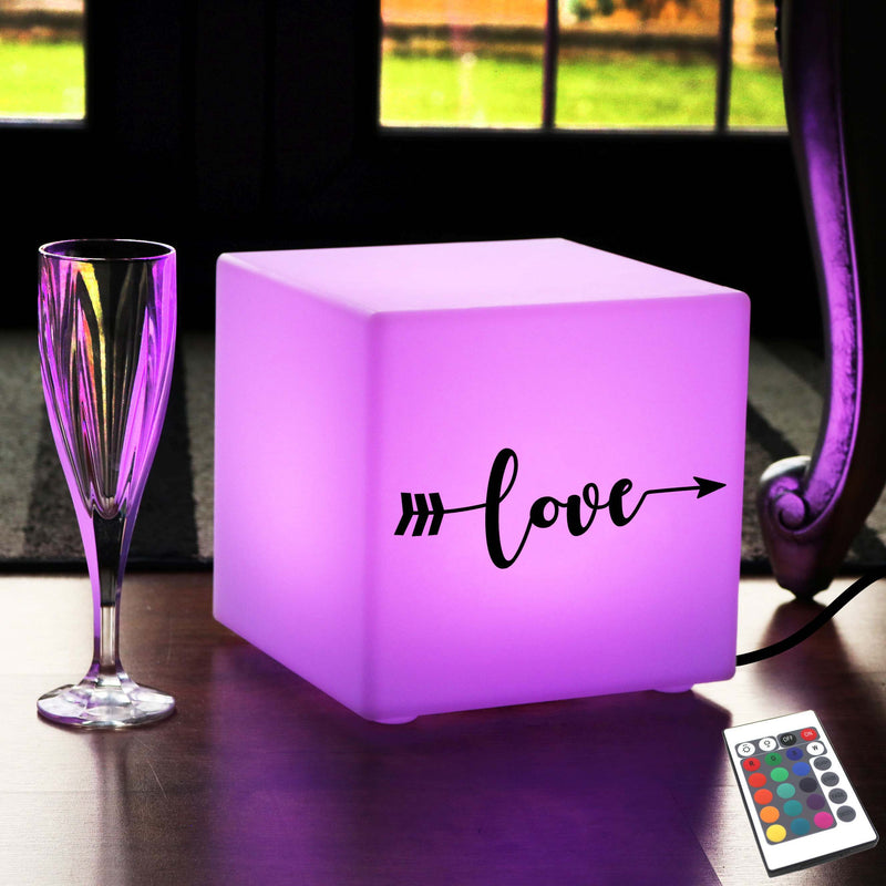 Creative Gift Light for Him, Contemporary Colour Changing Table Lamp Centrepiece for Birthday, Cube , Mains Powered, Love Arrow Gift Lamp