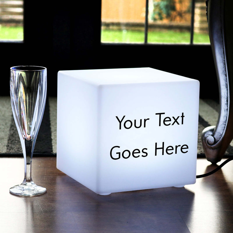 Promotional Customised Light Box, Lounge Table Lamp Centrepiece for Decoration, Cube 20 x 20 cm, E27, White