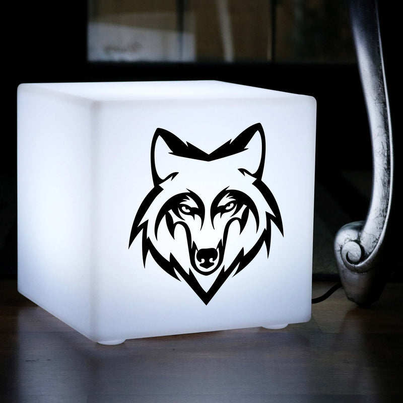 Unique Handmade Thoughtful Gift Light, Lounge Table Bedside Lamp for Wedding, Cube , E27, White, Wolf Head Light Gift