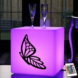 Creative Light Box, Lounge Multicolour LED Stool for Nightclub, Cube , Mains Powered, Butterfly Gift Light