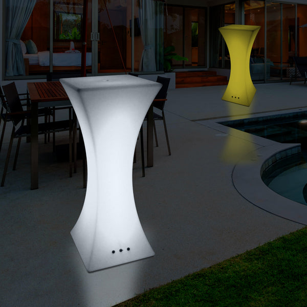 Mains Powered Outdoor LED Cocktail Table, Illuminated Poseur Drinks Bar Garden Patio Table