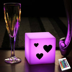 Funky Gift Light for Him, Modern Colour Changing Battery Operated Table Lamp Centrepiece for Wedding, Cube , Love Hearts Valentine's Present Light
