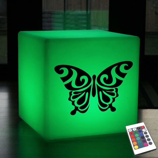 Hand Crafted Lightbox, Outdoor Colour Change Cordless Illuminated Seat for Bar, Cube , Butterfly Lamp