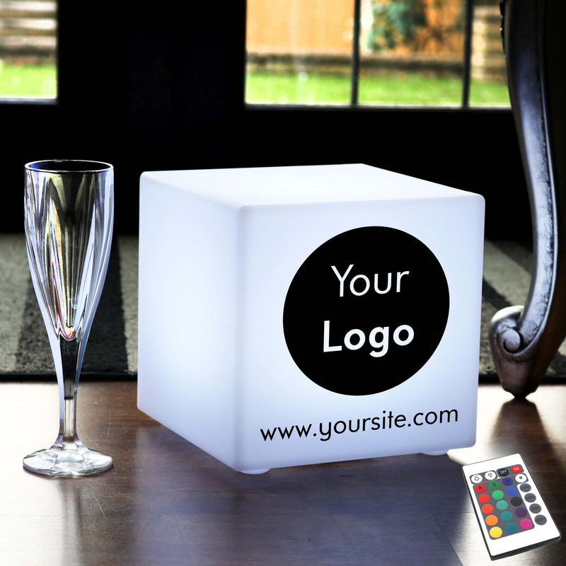 Thoughtful Custom Gift Light, Lounge Colour Change Rechargeable Table Bedside Lamp for Event, Cube