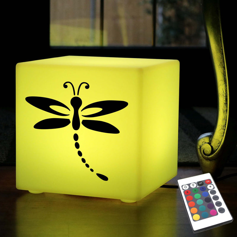 Original Handmade Gift Lamp, LED Multi Colour Table Bedside Lamp for Party, Cube , Mains Powered, Dragonfly Light
