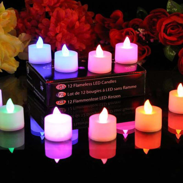 Set of 12 colour changing LED candles