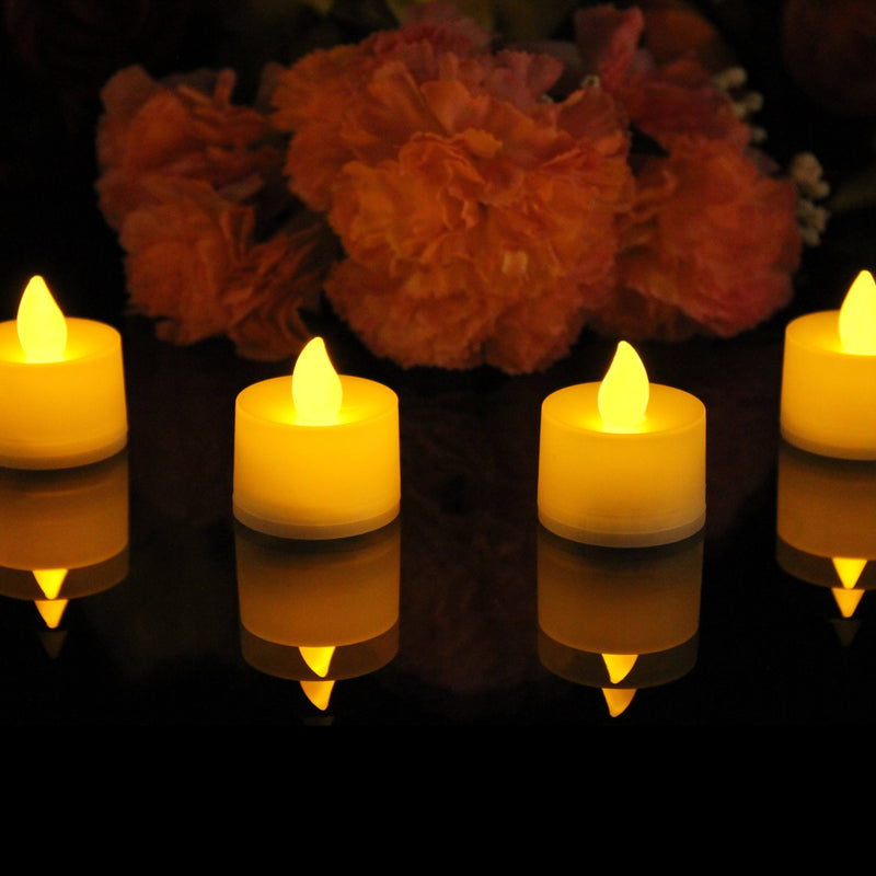 24 Battery Operated Tea Light Candles with Flickering LED