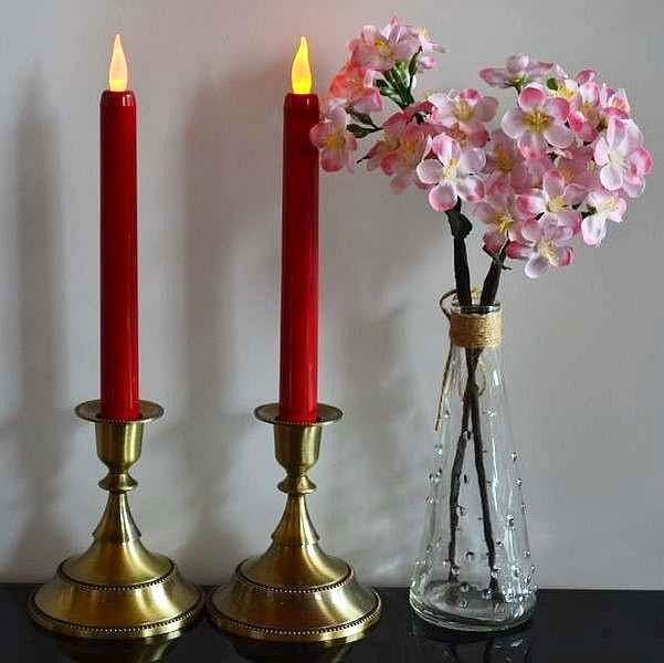 LED taper candles amber flicker flame