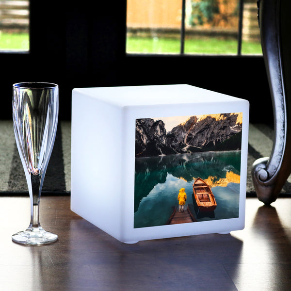 Personalised LED Photo Cube Table Lamp, Customised Gift Display Light Box, 20 x 20 cm