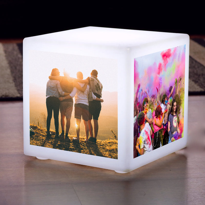 LED Photo Cube Backlit Light Box, Personalised Lamp Gift, Battery Powered 10cm Cube