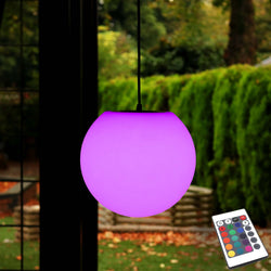 20cm Hanging Globe Lamp, Mains Powered Colour Changing LED + Remote