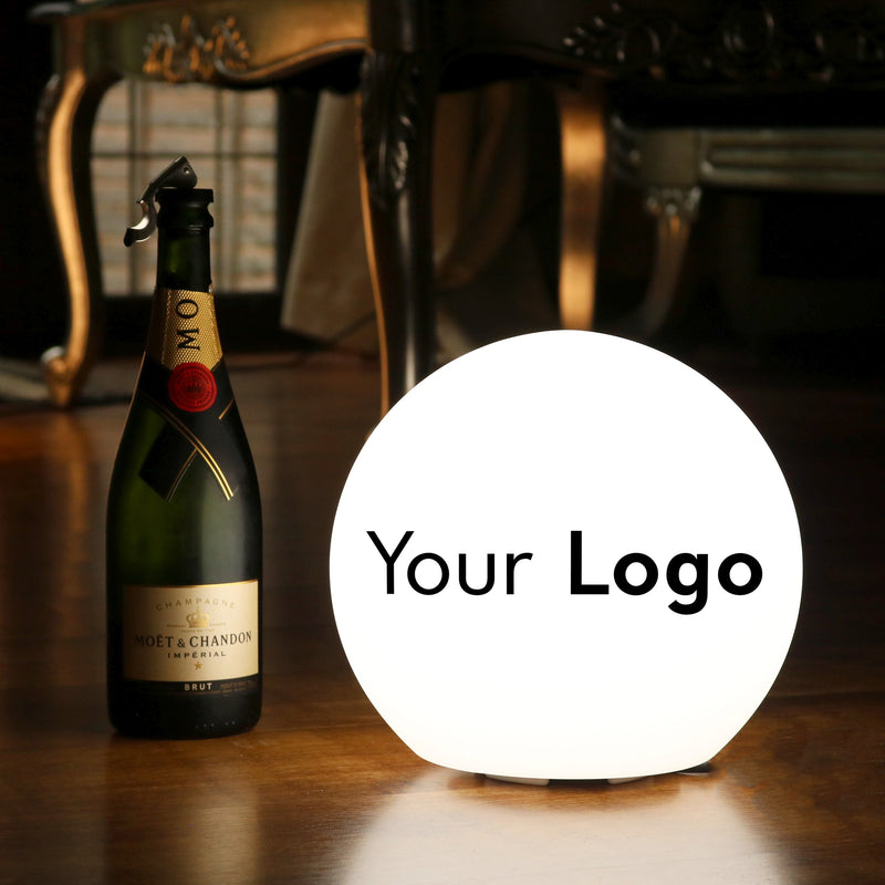 Customised Table Lamp, Personalised Branded LED E27 Round Globe Light Box, 25cm Ball