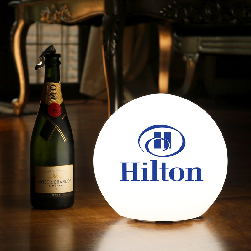 Personalised LED Orb Light Box, Promotional Logo Table Lamp, Illuminated Display Sign