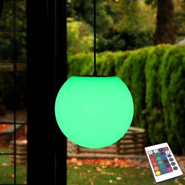 Rechargeable LED Pendant Hanging Light, 25cm RGB Sphere Lamp + Remote