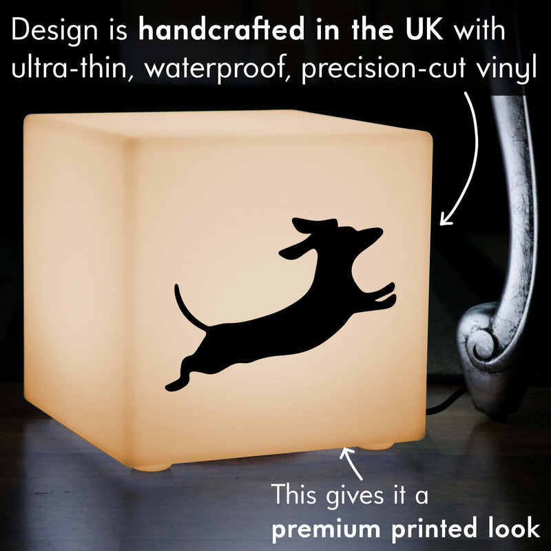 Original Thoughtful Gift Light, LED Table Bedside Lamp for Decoration, Cube , E27, Warm White, Dachshund Dog Gift Light