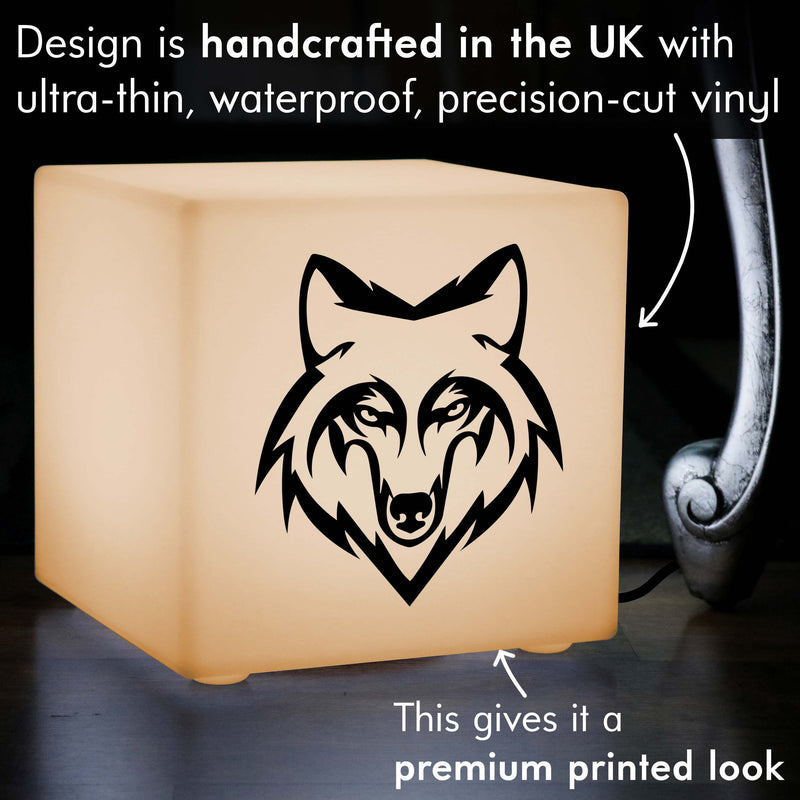 Original Gift Lightbox, Bedroom Table Lamp Centrepiece for Birthday, Cube , E27, Warm White, Wolf Head Gift Lamp
