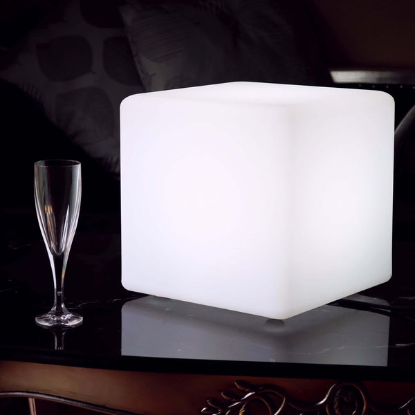 30cm LED Cube Table Lamp, Modern Lounge Event Lighting, White E27 Bulb