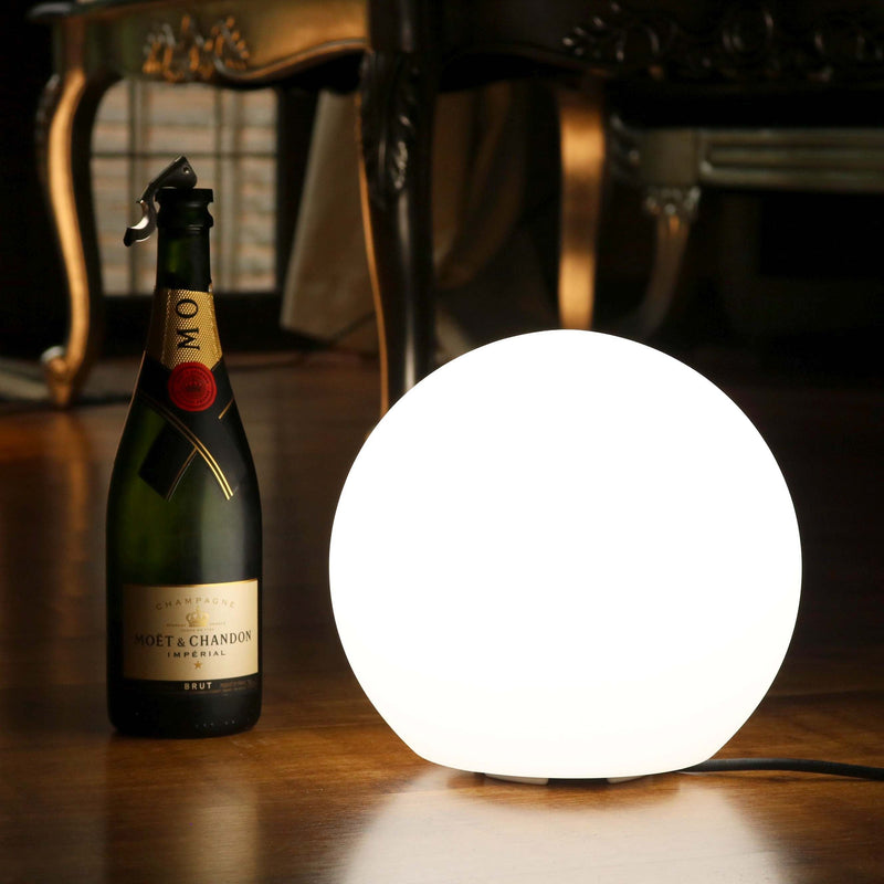 Modern LED Table Lamp, 25cm Orb Ball Light (White E27 Bulb Installed)