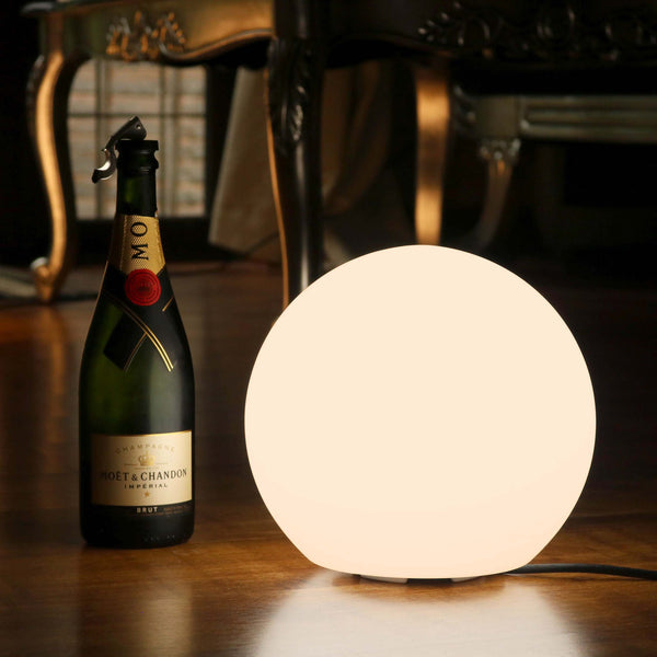 LED Table Lamp + Warm White E27 Bulb, 25cm Modern Globe Bedside Light