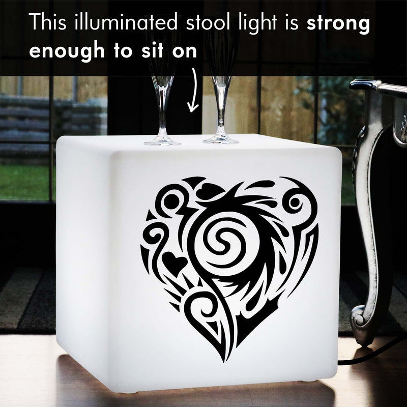 Funky Thoughtful Gift Light, LED Floor Lamp Stool for Birthday, Cube , E27, White, Love Heart Lamp Gift