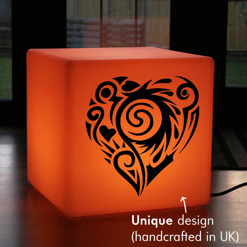 Creative Light Gift for Her, Living Room Ambient Light Up Stool for Nightclub, Cube , Mains Powered, Love Heart Lamp