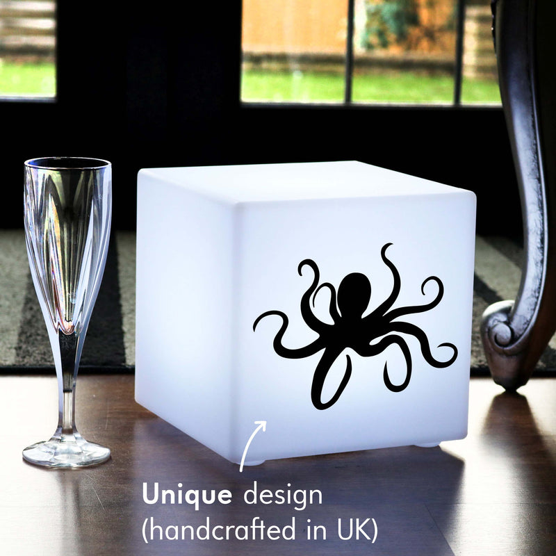 Unique Handmade Thoughtful Gift Light, Waterproof Dimmable Cordless Table Bedside Lamp for Birthday, Cube , Octopus Lamp