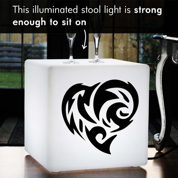 Unique Handcrafted Light Box, LED Floor Lamp Stool for Bar, Cube , E27, White, Fire Heart Love Gift Lamp