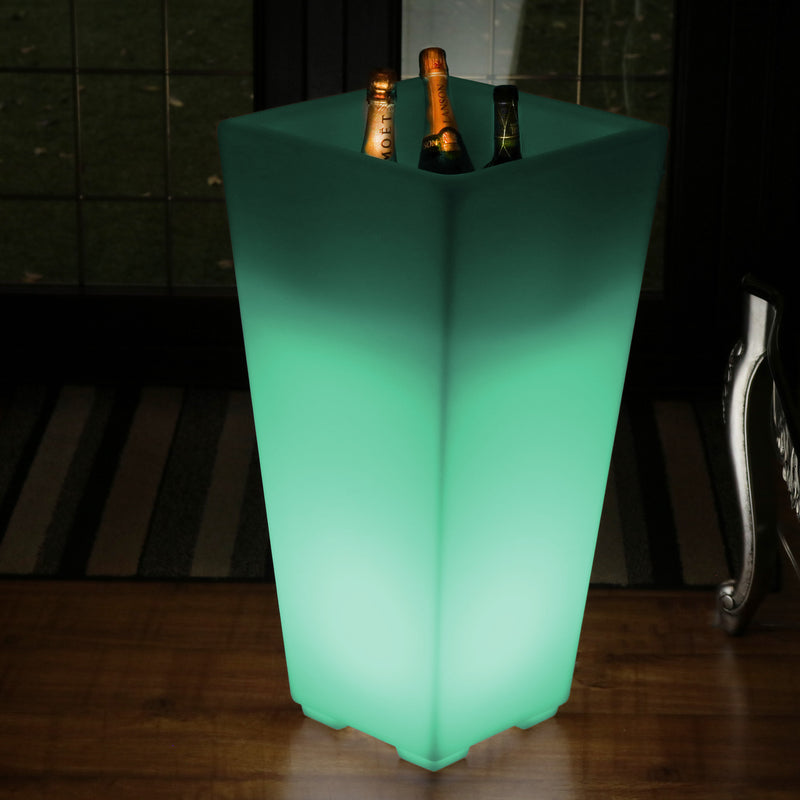 75cm LED Stand Wine Bucket Champagne Cooler, Illuminated Garden Outdoor Drinks Ice Holder