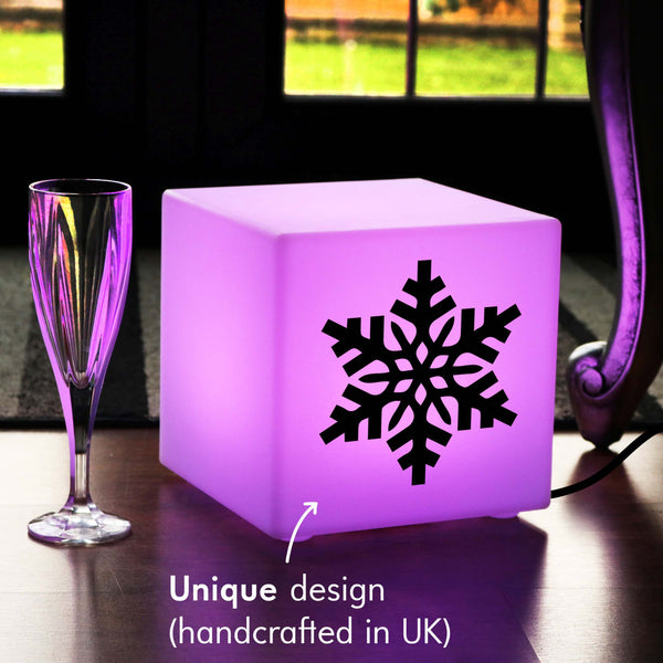 Unique Handcrafted Thoughtful Gift Light, Lounge Multi Colour Table Lamp for Anniversary, Cube , Mains Powered, Snowflake Light