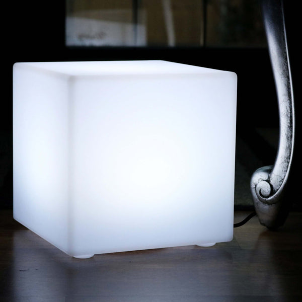 20cm Modern LED Cube Table Lamp for Living Room with White E27 Bulb