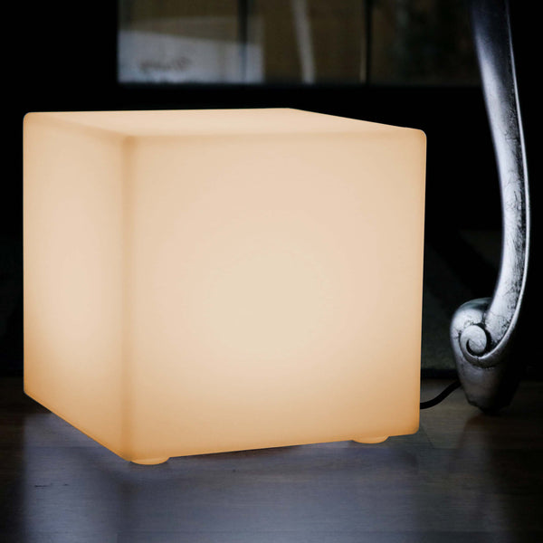LED Table Lamp Cube, 20cm Bedside Night Light with Warm White E27 Bulb